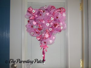Finished Deco Mesh Valentine's Day Wreath Craft