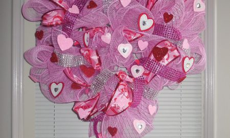 Deco Mesh Valentine's Day Wreath Craft