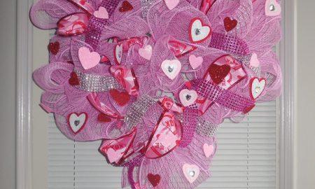 Deco Mesh Valentine's Day Wreath Craft
