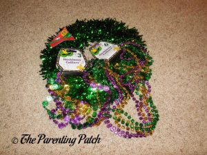 Materials for Green Tinsel Mardi Gras Wreath
