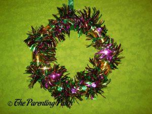 Finished Gold Washi Tape Mardi Gras Wreath