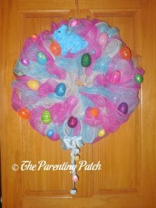 First Finished Deco Mesh Easter Wreath
