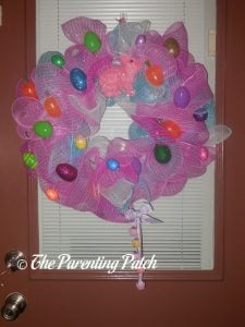 Second Finished Deco Mesh Easter Wreath