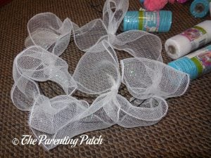 White Loops of Deco Mesh Easter Wreath