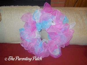 First Undecorated Deco Mesh Easter Wreath