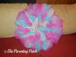 Second Undecorated Deco Mesh Easter Wreath