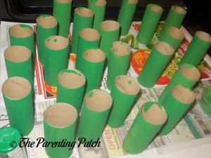 Green Toilet Paper Rolls for the Toilet Paper Roll Leprechaun Hat Craft