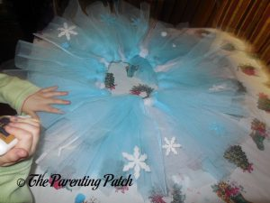 Gluing Decorations from the Seedling Create Your Own Ice Princess Tutu