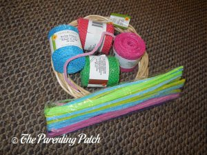 Supplies for Burlap Ribbon Easter Egg Spring Wreath Craft