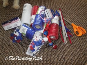Supplies for Deco Mesh Patriotic Star Wreath Craft