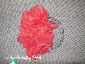 Red Deco Mesh on the Deco Mesh Patriotic Star Wreath Craft