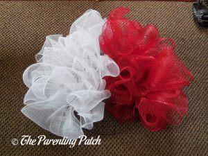 Red and White Deco Mesh on the Deco Mesh Patriotic Star Wreath Craft
