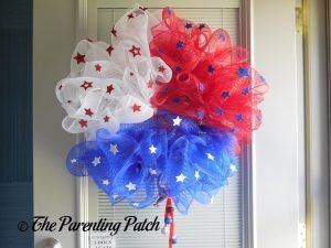 Finished Deco Mesh Patriotic Star Wreath Craft