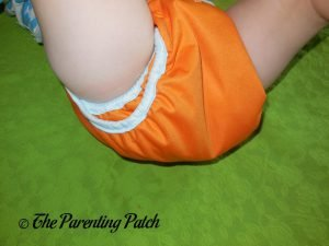 Leg of Hook-and-Loop ecoAble Cloth Diaper Cover on 25-Pound Toddler