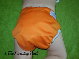 Back of Hook-and-Loop ecoAble Cloth Diaper Cover on 25-Pound Toddler