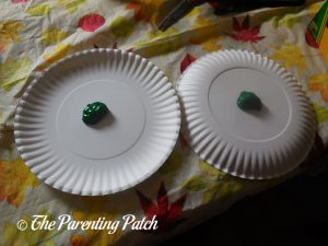 Green Paint for A Is for Alligator Paper Plate Craft