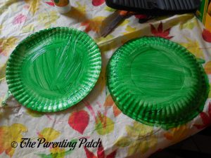 Plates Painted Green for A Is for Alligator Paper Plate Craft
