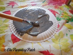 Painting the Plate Gray for O Is for Oyster Paper Plate Craft