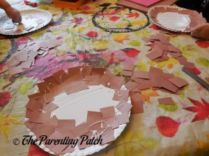Brown Paper Squares for H Is for Hot Dog Paper Plate Craft