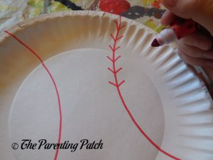 Cross Lines on B Is for Baseball Paper Plate Craft
