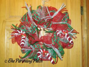 Finished Deco Mesh, Ribbon, and Mesh Tube Christmas Wreath Craft