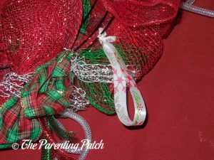 Ribbon Hanger on Deco Mesh, Ribbon, and Mesh Tube Christmas Wreath Craft