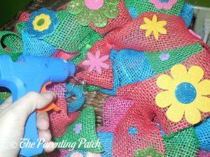 Foam Glitter Flower Stickers on Burlap Ribbon Summer Flower Wreath Craft