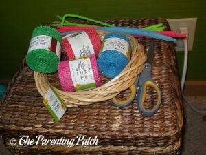 Materials for Burlap Ribbon Summer Flower Wreath Craft