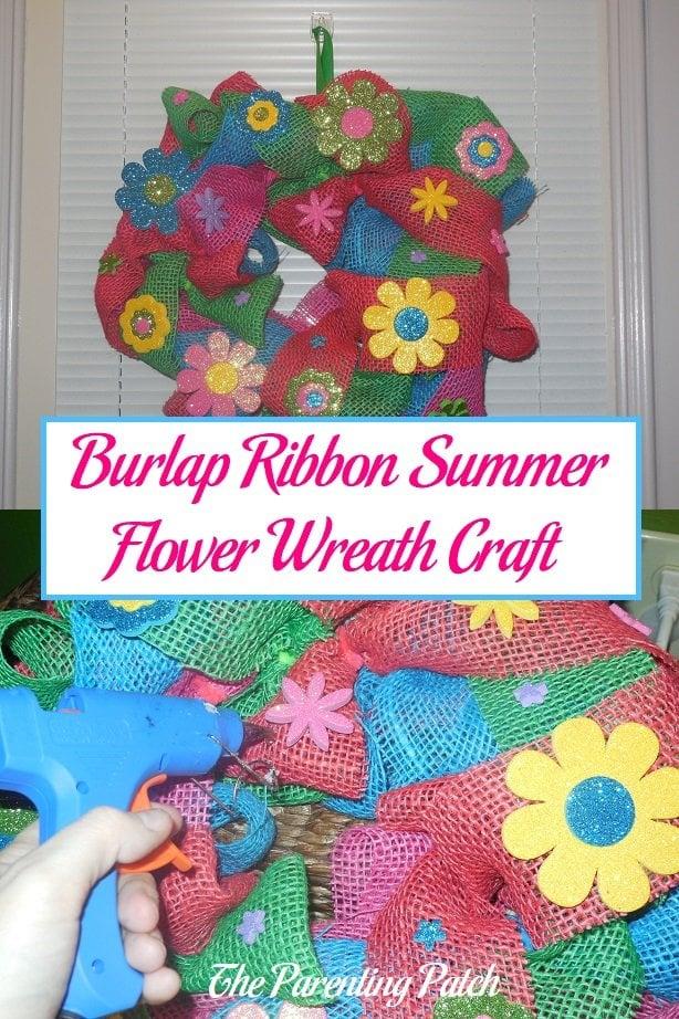 Burlap Ribbon Summer Flower Wreath Craft