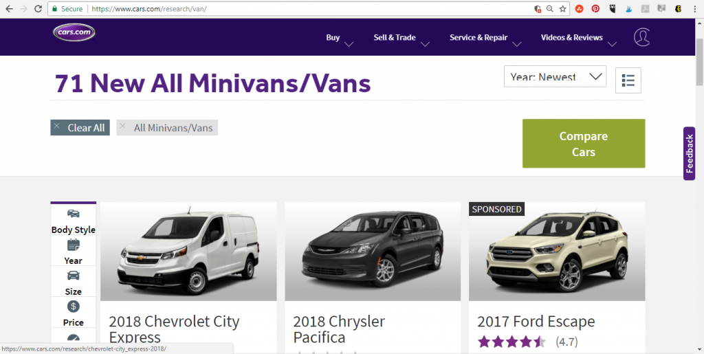 Cars.com Search by Body Style
