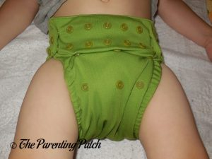 Front of Nicki's Diapers Ultimate All-in-One on 26 Pound Toddler