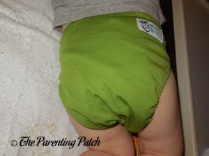Back of Nicki's Diapers Ultimate All-in-One on 26 Pound Toddler