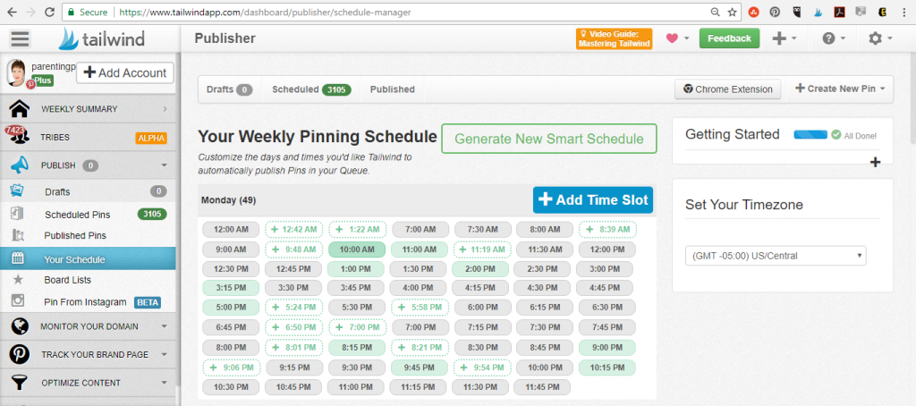 Your Weekly Pinning Schedule Screen Shot