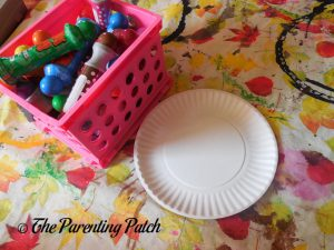Materials for C Is for Caterpillar Paper Plate Craft