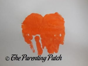 Two Orange Handprints for J Is for Jack-o-Lantern Handprint Craft