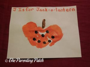 Completed J Is for Jack-o-Lantern Handprint Craft