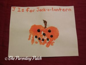 Finished J Is for Jack-o-Lantern Handprint Craft