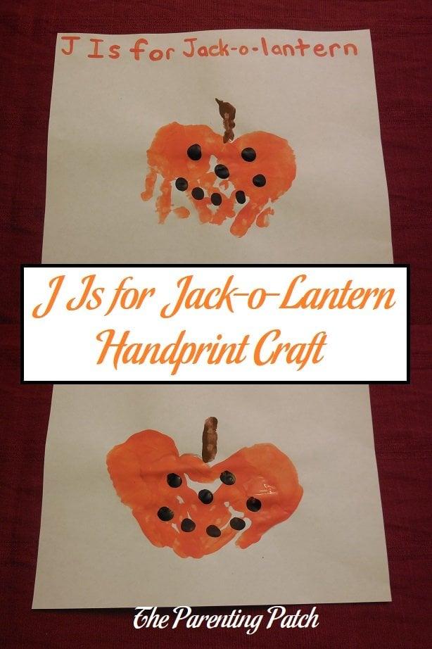J Is for Jack-o-Lantern Handprint Craft