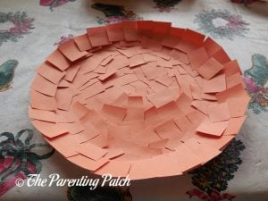 P Is for Pumpkin Paper Plate Craft Covered in Orange Squares
