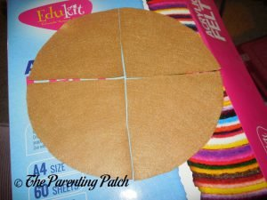 Tan Circle Cut in Four Pieces for Felt Pizza Toy