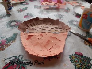 Finishing the A Is for Acorn Paper Plate Craft