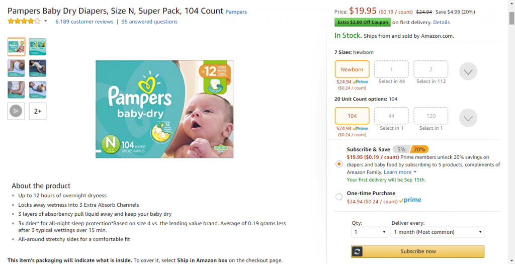 Size Newborn Pampers Baby Dry Diapers Screenshot