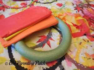 Supplies for Tablecloth Strip Thanksgiving Wreath Craft