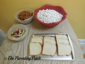 Buttered Toast, Pretzel Sticks, Jelly Beans, and Popcorn