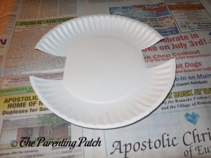 Cutting the Plate for the H Is for Hamburger Paper Plate Craft
