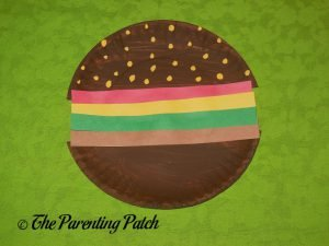 Finished H Is for Hamburger Paper Plate Craft
