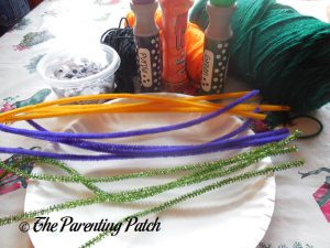 Materials for S Is for Spider Halloween Paper Plate Craft