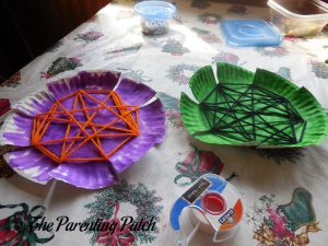 Yarn Woven on the S Is for Spider Halloween Paper Plate Craft
