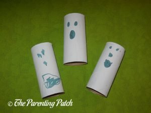 Finished Halloween Ghost Toilet Paper Roll Crafts