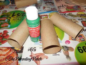 Materials for Frankenstein's Monster Halloween Toilet Paper Roll Craft